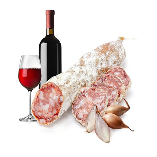 franse droge worst met wijn en sjalot