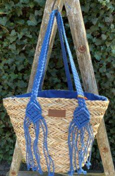 rieten tas blauw